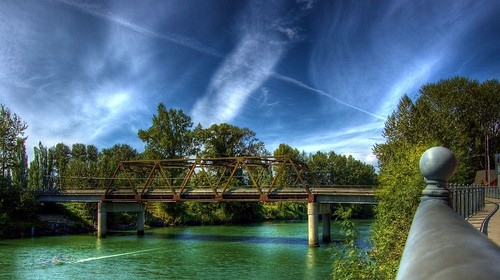 bridge blue sky green clouds river washington nikond50 hdr snohomish