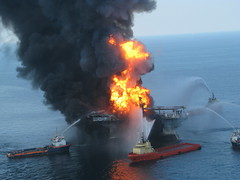 photo of the Deepwater Horizon Offshore Drilling Platform on Fire
