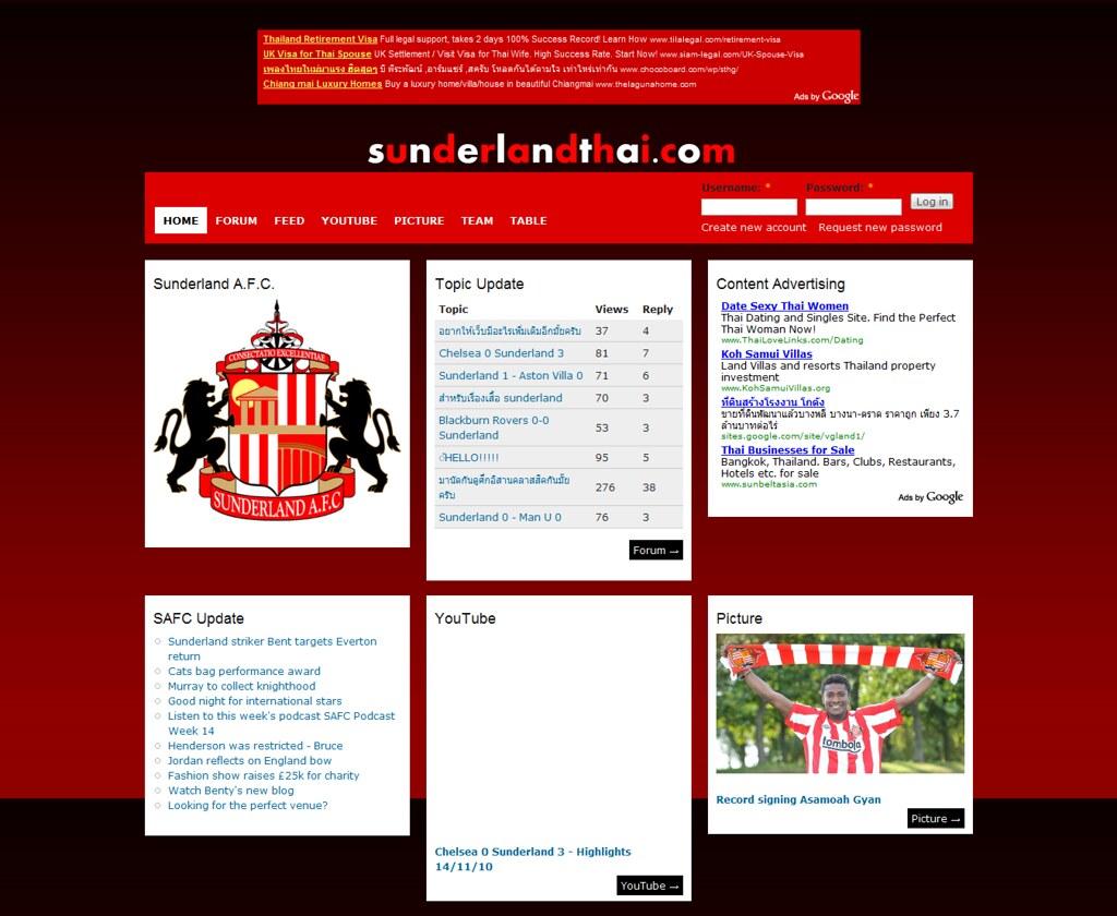 SunderlandThai.com Homepage