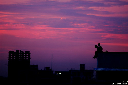 sunset red sky silhouette june skyline d50 evening nikon chat dhaka nikkor bangladesh gossip 180mmf28 mohammadpur