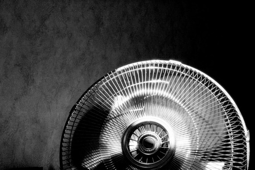 Black and white photograph of a wire fan