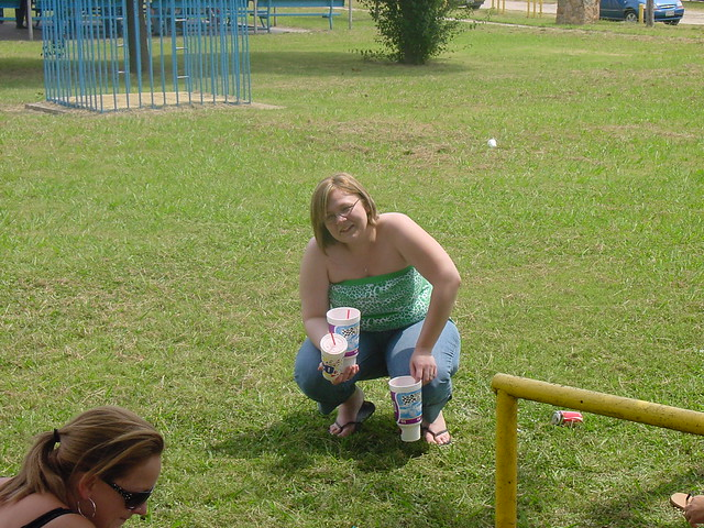 Girls squat to pee