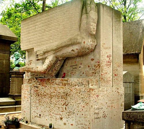 The Tomb of Oscar Wilde, Père Lachaise cemetery, Paris.