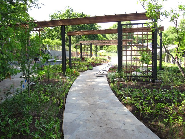 The entrance path to the newly planted Herb Garden. Photo by Rebecca Bullene.