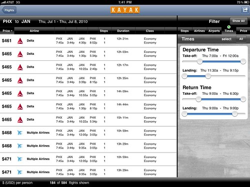 The Kayak iPad App is Pretty Cool