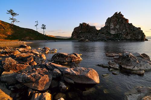 sunset summer lake water landscape geotagged russia dusk stones siberia 2009 baikal burhan olkhon nikond300 tokinaaf12244 irkutskoblast burhancape