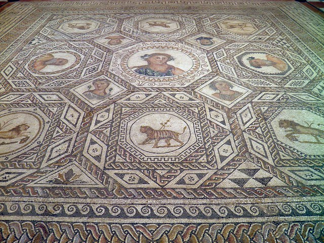 Geometric mosaic showing the four seasons, Archaeological Museum, Seville