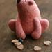 pink needle felted polar bear by ola smith