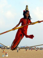 Tight Rope Walker Marina Beach Chennai