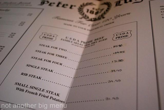 Peter Luger Menu Prices