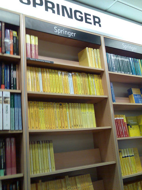 Springer bookshelf in Foyle's bookstore