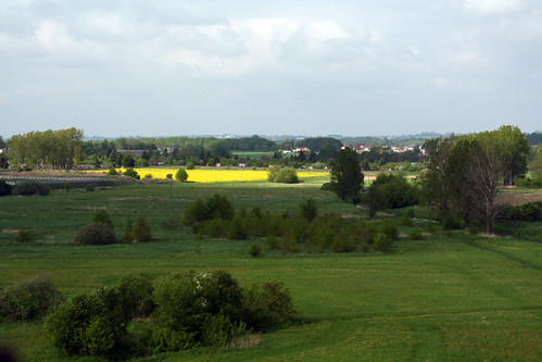 flowers sunlight green castle grass yellow clouds countryside shadows view poland raysoflight ciechanow