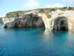 The beautiful Blue Caves which can easily be reached on one of the many boat trips available