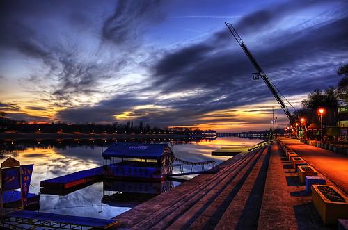sunset sky urban lake reflection water night clouds serbia belgrade