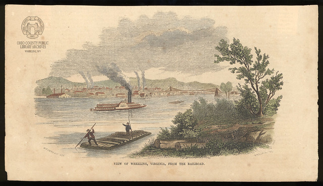 Engraving: 1854 View Of Wheeling, Virginia