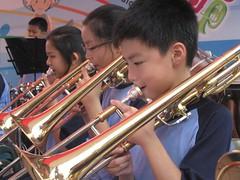tuba(0.0), trumpet(0.0), bass guitar(0.0), musician(1.0), trombone(1.0), music(1.0), brass instrument(1.0), wind instrument(1.0),