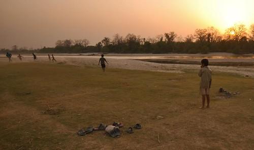 nepal sunset game nature boys kids river countryside football nationalpark asia bardia terai ruralnepal geruwariver