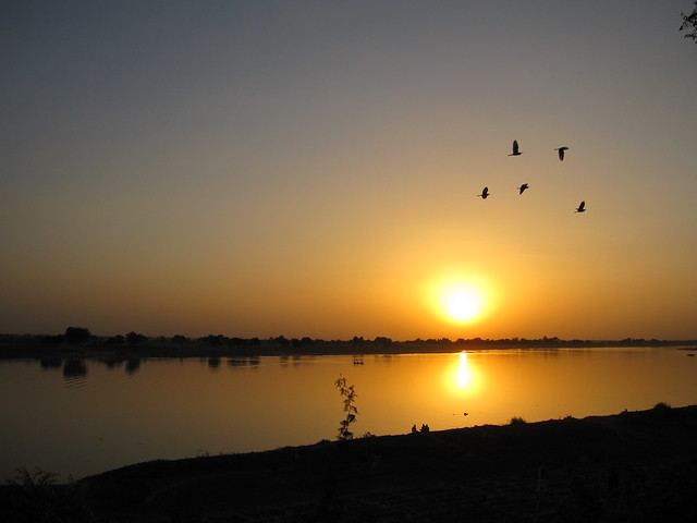 Sunset over the River Chari