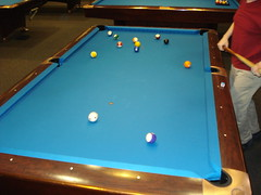 nine-ball(0.0), games(0.0), carom billiards(0.0), indoor games and sports(1.0), individual sports(1.0), billiard room(1.0), snooker(1.0), sports(1.0), recreation(1.0), cue stick(1.0), pool(1.0), billiard table(1.0), table(1.0), recreation room(1.0), english billiards(1.0), cue sports(1.0),