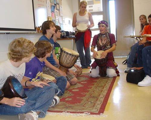 Fontaine's djembes give students a taste of life in a drum circle