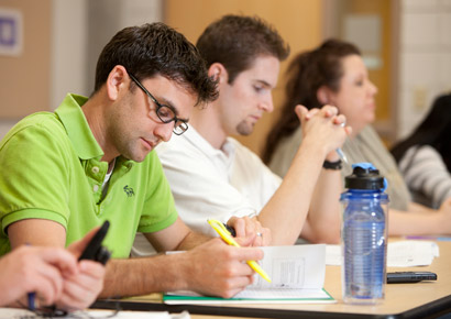 Newman University students studying in classroom