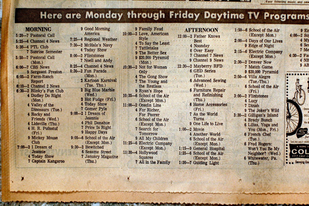 TV schedule | Friday January 6, 1978 Blogged here  | Eden M