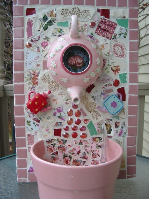 Pink teapot fountain mosaic | Flickr - Photo Sharing!