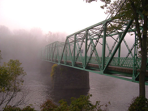 Old Glendon Bridge over the Lehigh River shrouded in fog