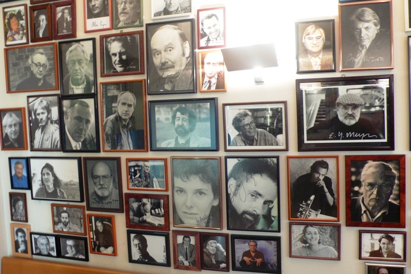 Portraits of Swiss Writers in Cafeteria, Stauffacher Book shop