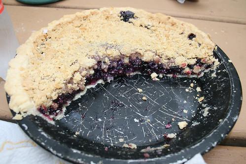 Wild huckleberry and blueberry pie!