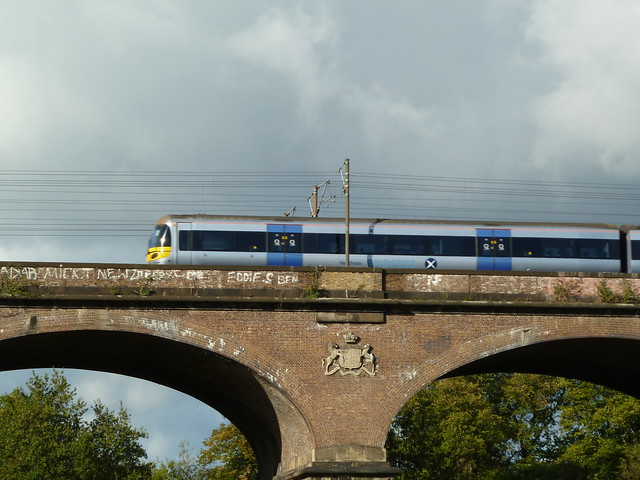 A train goes over the viaduct