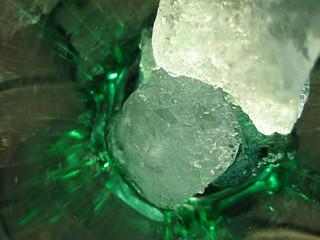 Green water glass closeup