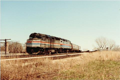 Westbound Amtrak train approaching Brighton junction. Chicago Illinois. April 1984. by Eddie from Chicago