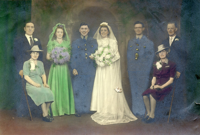 Brightly tinted wedding photograph