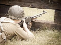 shotgun(0.0), soldier(1.0), weapon(1.0), shooting(1.0), shooting range(1.0), firearm(1.0), gun(1.0),