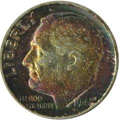 Toned Roosevelt Dime 1948D