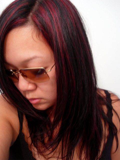 red highlights in black hair