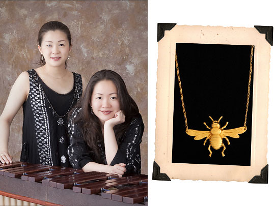 Left: Hiten Marimba Duo; right: Erica Weiner Jewelry (Photo by Erica Weiner)