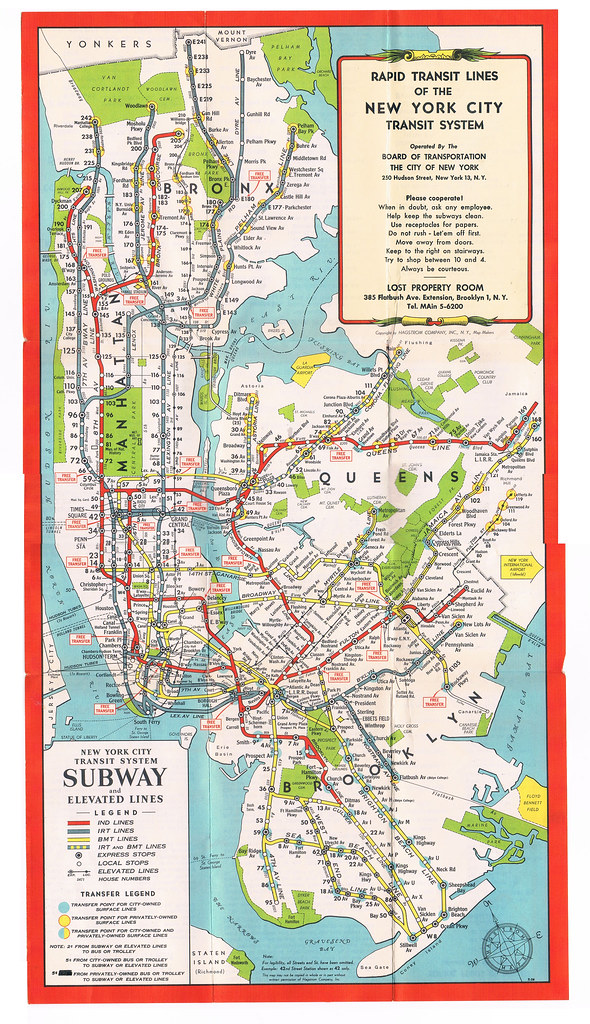 Nyc Subway Map Scan.Nyc Subway Map 1948 A Bad Patchwork Of Scans But You Flickr