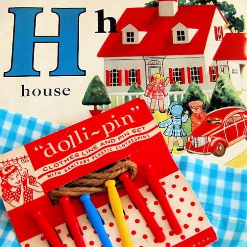 Vintage House Illustration & Doll Clothespins