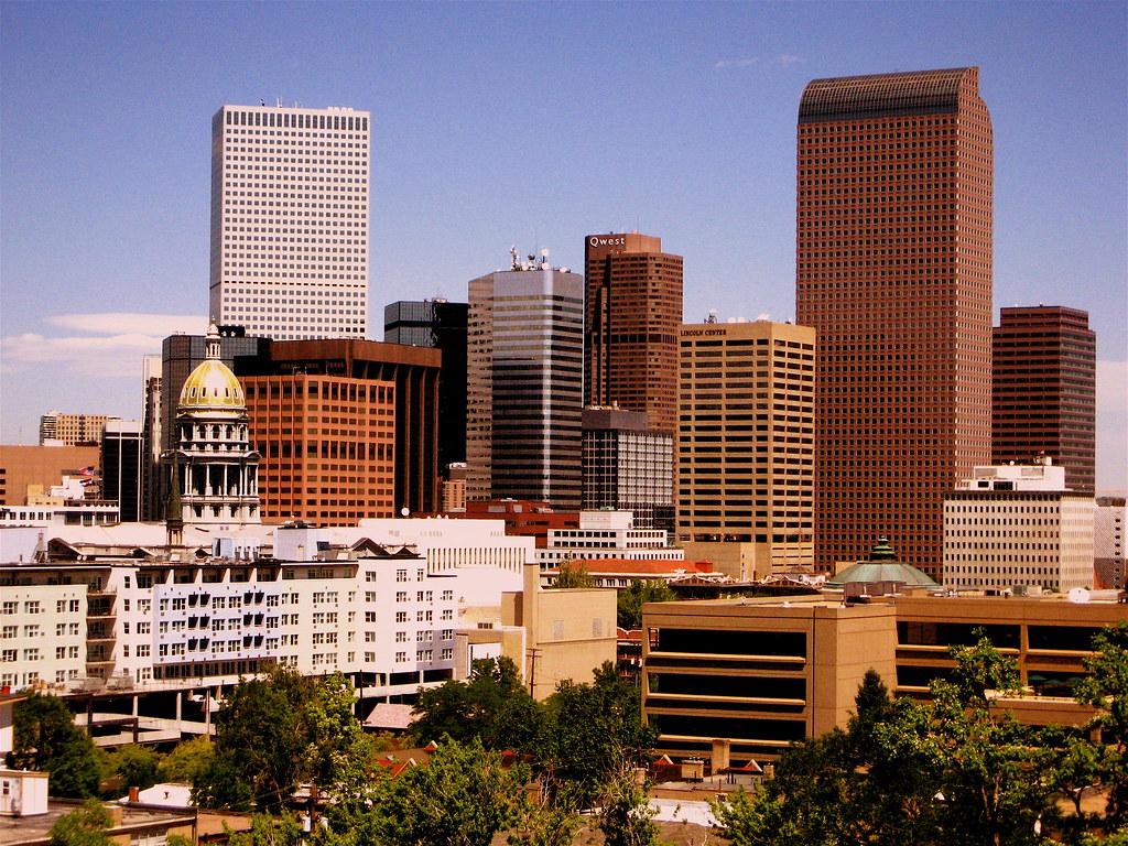 On Black Downtown Denver Colorado Usa Skyline By Midimacman Large