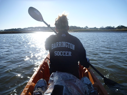 Hanna kayaks towards oyster reef experiment sites in October of 2010.