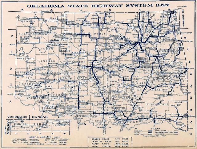 Oklahoma Highway Map 1927