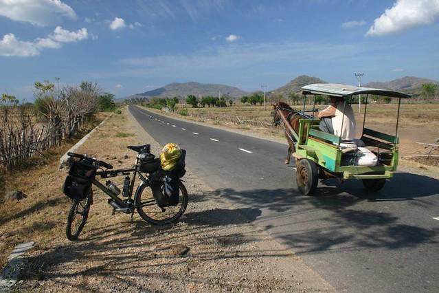 A benhur horse cart and the Koga on Sumbawa Island.