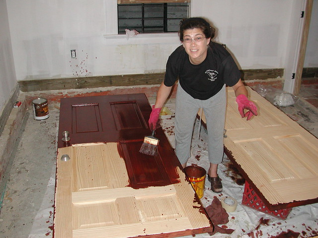 Staining Doors