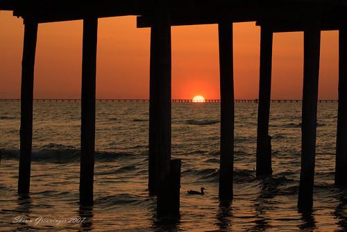 sunset sun beach d50 virginia pier duck nikon va virginiabeach fishingpier chesapeakebay aplusphoto lynnhavenfishingpier thechallengefactory