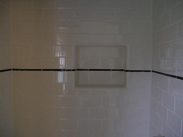 Subway Tile Shower Stall Niche