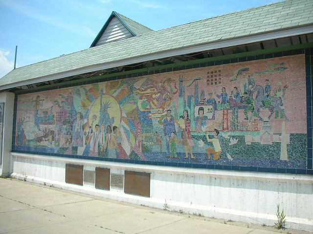 Chinatown mural at entrance to chinatown square plaza for Chinatown mural chicago