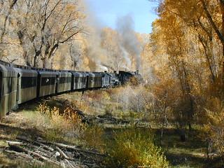 Double header steam passenger train
