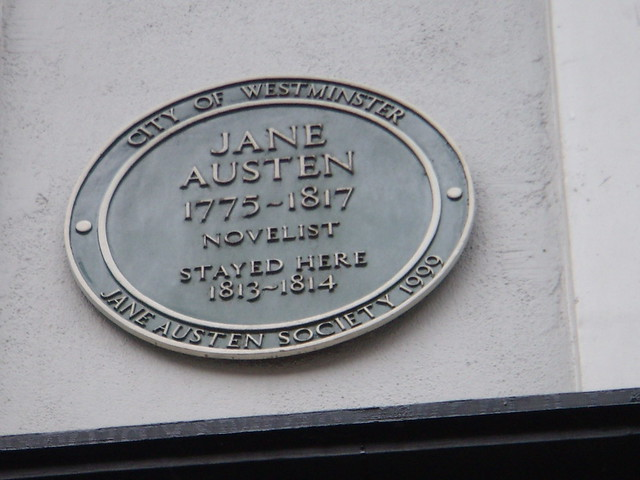 Jane Austen green plaque - Jane Austen 1775-1817 Novelist stayed here 1813-1814